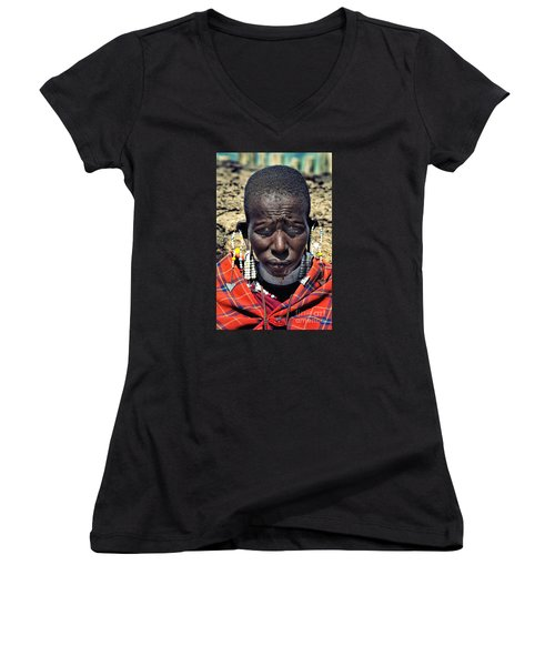Portrait Of Young Maasai Woman At Ngorongoro Conservation Tanzania Women's V-Neck T-Shirt (Junior Cut) by Amyn Nasser
