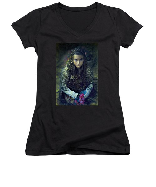 Women's V-Neck T-Shirt (Junior Cut) featuring the photograph Young Maiden by John Rivera