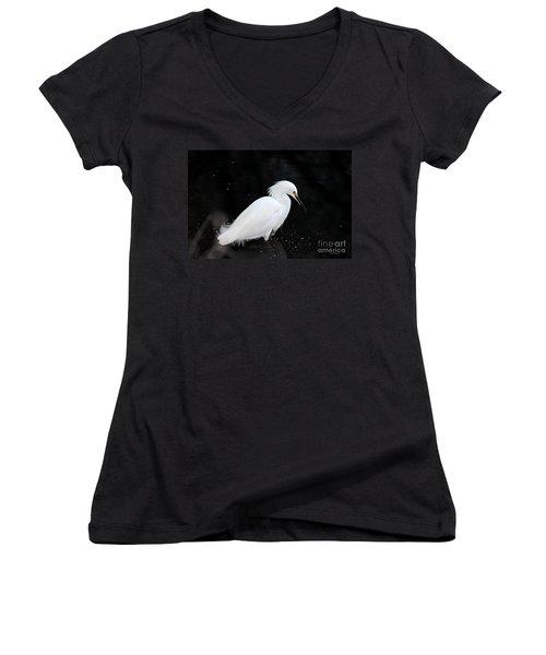 Young Snowy Egret Women's V-Neck T-Shirt (Junior Cut) by Susan Wiedmann