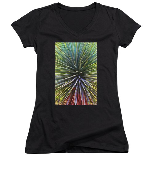 Women's V-Neck T-Shirt (Junior Cut) featuring the photograph Yucca At The Arboretum by Tom Janca