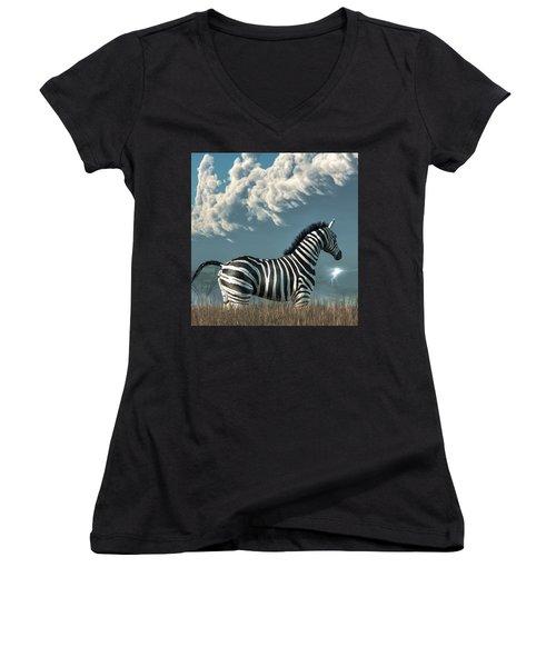 Zebra And Approaching Storm Women's V-Neck