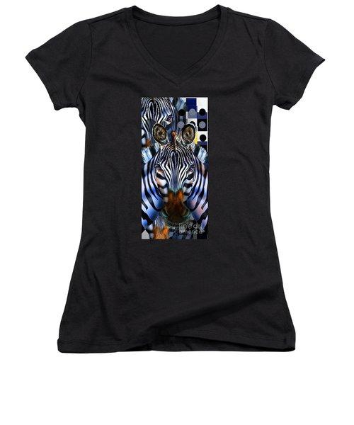 Zebra Dreams Women's V-Neck T-Shirt