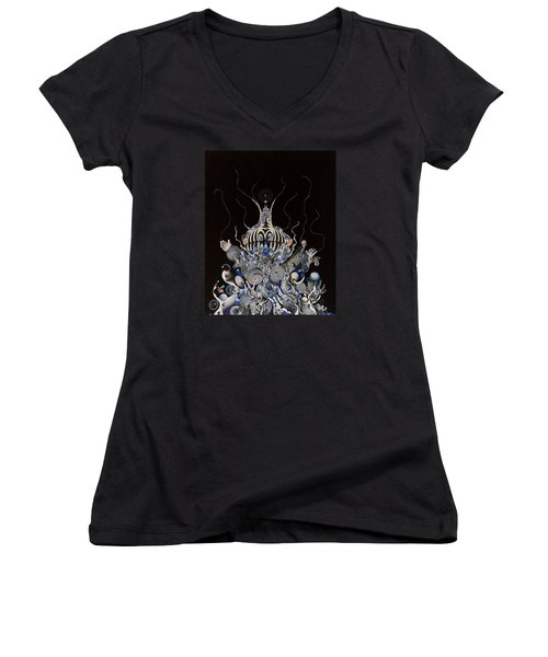 Women's V-Neck T-Shirt (Junior Cut) featuring the mixed media Zebratiki by Douglas Fromm