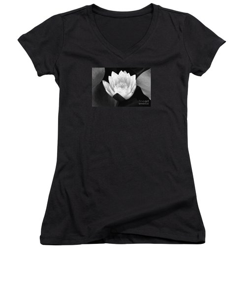 Women's V-Neck T-Shirt (Junior Cut) featuring the photograph Waterlily Rising  by John F Tsumas