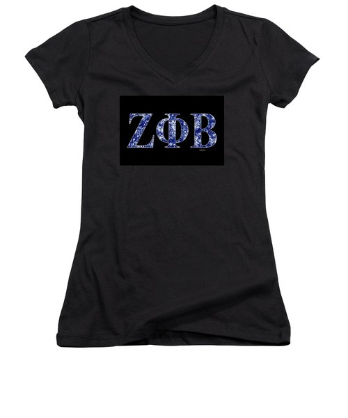 Zeta Phi Beta - Black Women's V-Neck T-Shirt (Junior Cut) by Stephen Younts
