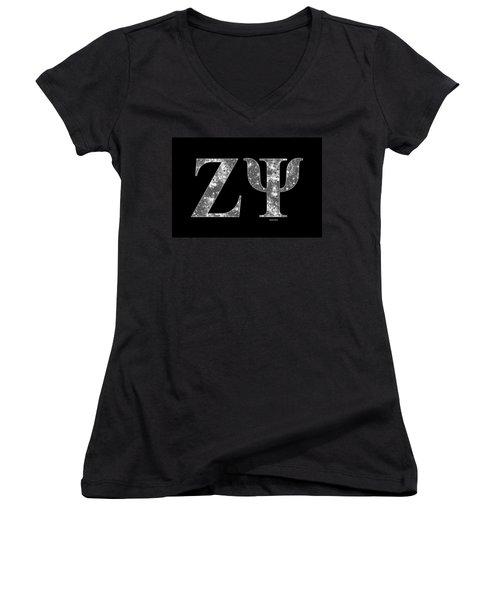 Zeta Psi - Black Women's V-Neck T-Shirt (Junior Cut) by Stephen Younts