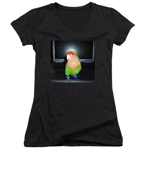 Women's V-Neck T-Shirt (Junior Cut) featuring the photograph Zippy The Lovebird by Joan Reese