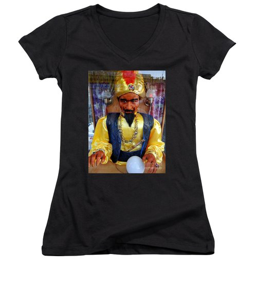 Women's V-Neck T-Shirt (Junior Cut) featuring the photograph Zoltar by Ed Weidman