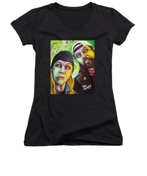 Zombie Jay And Silent Bob Women's V-Neck T-Shirt (Junior Cut) by Mike Vanderhoof