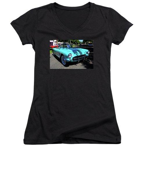 55 Corvette Women's V-Neck T-Shirt