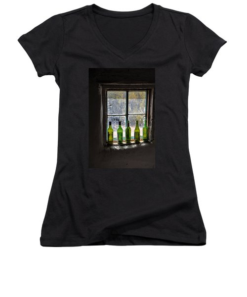 Green Bottles In Window Women's V-Neck (Athletic Fit)