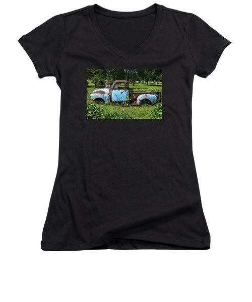 Women's V-Neck T-Shirt (Junior Cut) featuring the photograph '48 Chevy by Paul Mashburn