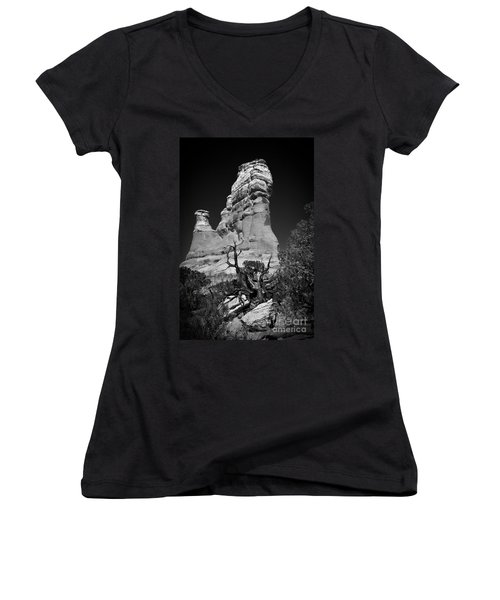 Arches National Park Bw Women's V-Neck T-Shirt (Junior Cut) by Larry Carr