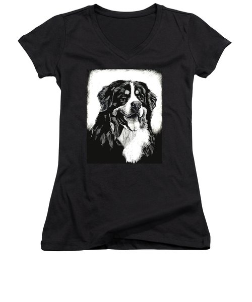 Women's V-Neck T-Shirt (Junior Cut) featuring the drawing Bernese Mountain Dog by Rachel Hames
