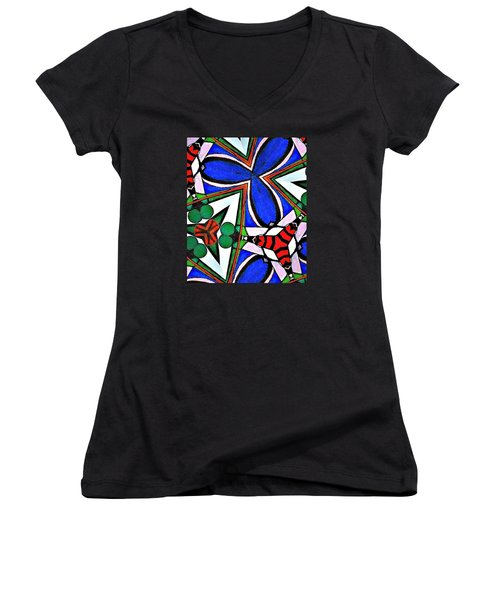Calendoscopio Women's V-Neck T-Shirt (Junior Cut) by Sandra Lira