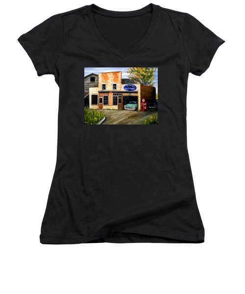 Duke's Garage Women's V-Neck T-Shirt (Junior Cut) by Renate Nadi Wesley