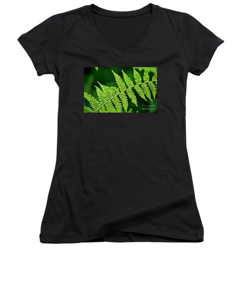 Women's V-Neck T-Shirt (Junior Cut) featuring the photograph Fern Seed by Sharon Elliott