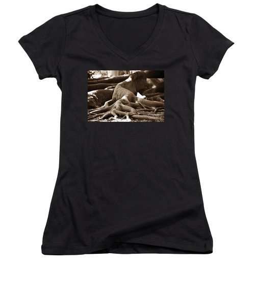 Fig Tree Roots Women's V-Neck T-Shirt