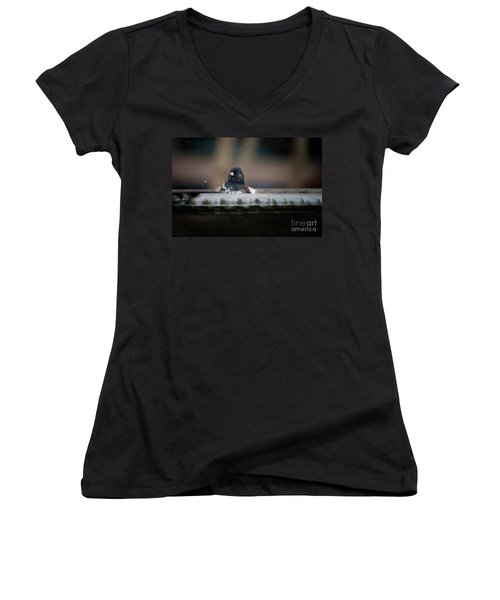 Women's V-Neck T-Shirt (Junior Cut) featuring the digital art Junco In The Birdbath by Carol Ailles