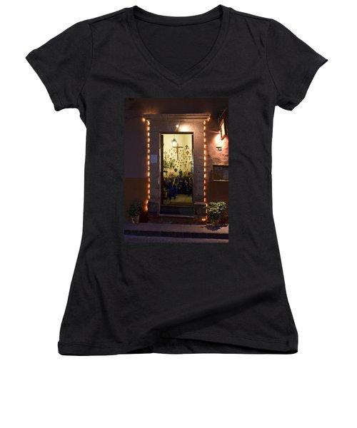 Women's V-Neck T-Shirt (Junior Cut) featuring the photograph Las Cruces by Lynn Palmer