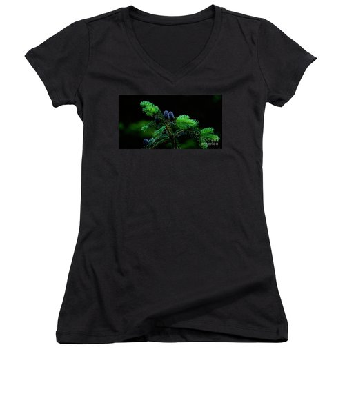 Women's V-Neck T-Shirt (Junior Cut) featuring the photograph Mountain Life by Sharon Elliott