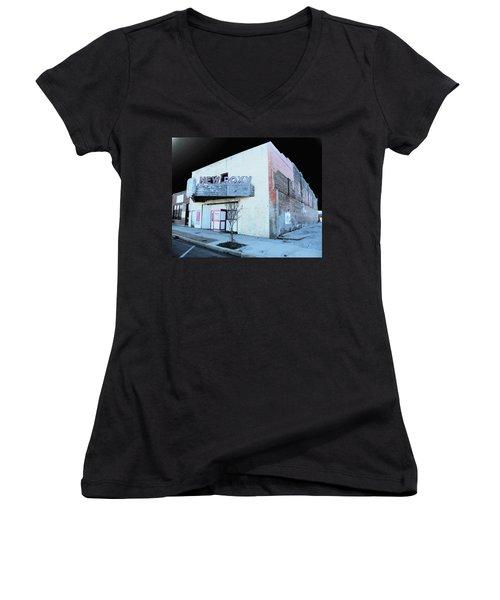 Women's V-Neck T-Shirt (Junior Cut) featuring the photograph New Roxy Clarksdale Ms by Lizi Beard-Ward