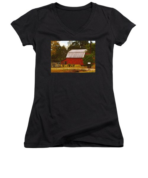 Women's V-Neck T-Shirt (Junior Cut) featuring the photograph Ozark Red Barn by Lydia Holly