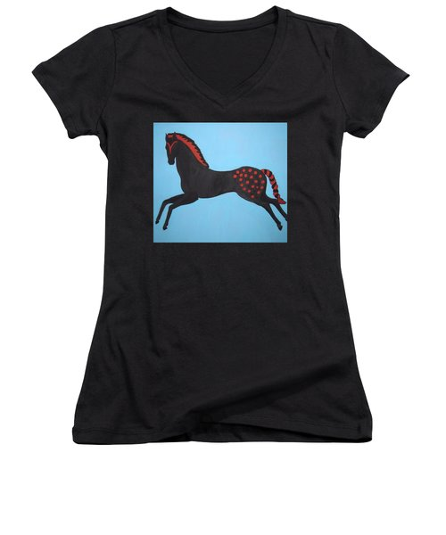 Painted Pony Women's V-Neck T-Shirt (Junior Cut) by Stephanie Moore