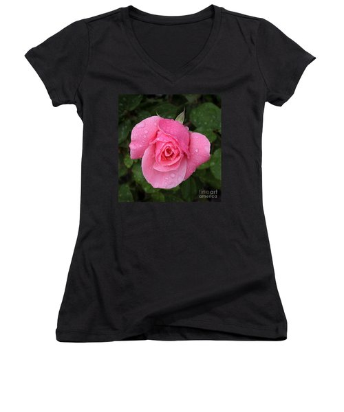 Pink Rose Macro Shot With Rain Drops Women's V-Neck (Athletic Fit)