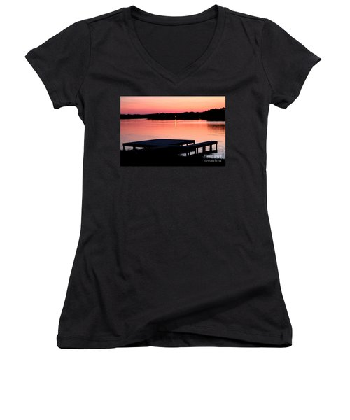 Women's V-Neck T-Shirt (Junior Cut) featuring the photograph Sunset View From Dockside by Kathy  White
