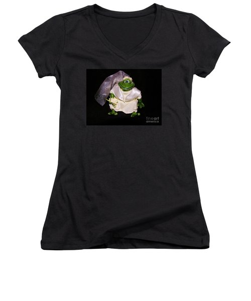 Women's V-Neck T-Shirt (Junior Cut) featuring the photograph The Green Bride by Sherman Perry