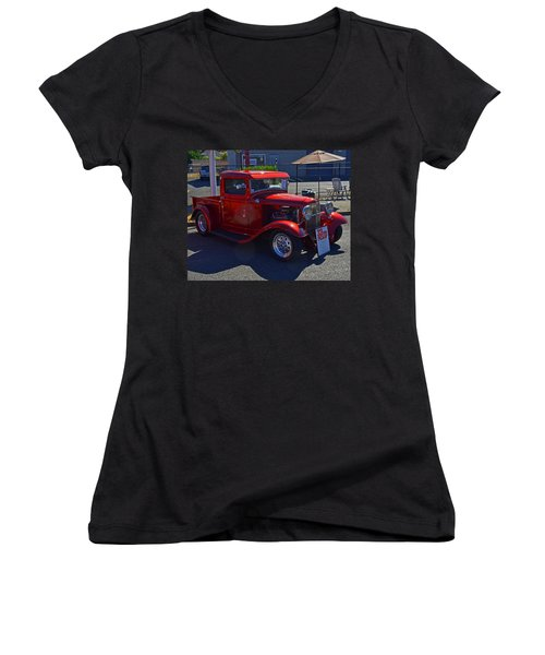 Women's V-Neck T-Shirt (Junior Cut) featuring the photograph 1932 Ford Pick Up by Tikvah's Hope