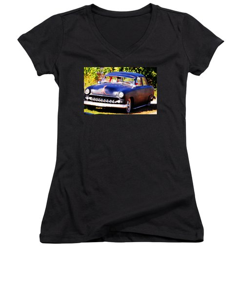 Women's V-Neck T-Shirt (Junior Cut) featuring the photograph 1950 Ford  Vintage by Peggy Franz