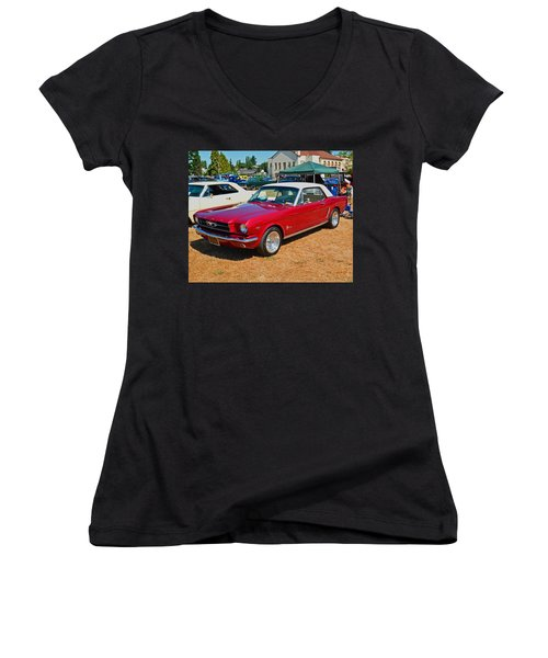 Women's V-Neck T-Shirt (Junior Cut) featuring the photograph 1964 Ford Mustang by Tikvah's Hope