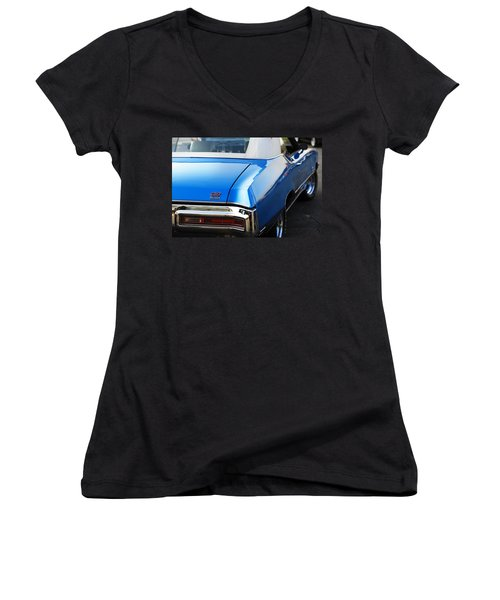 Women's V-Neck T-Shirt (Junior Cut) featuring the photograph 1971 Buick Gs by Gordon Dean II