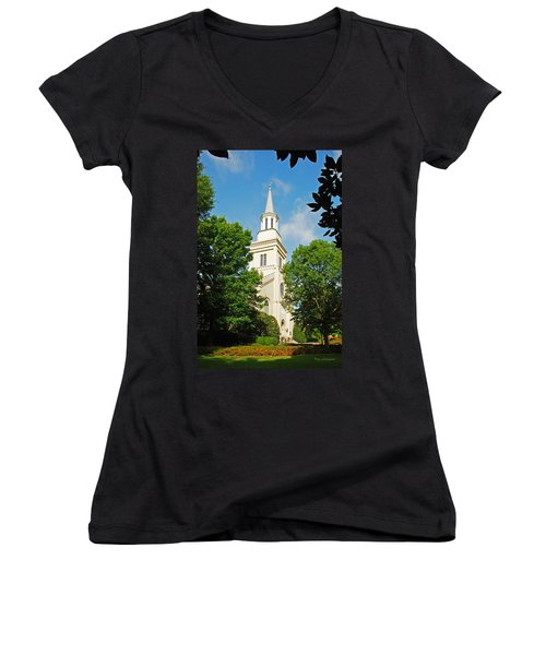 1st Presbyterian Church Women's V-Neck T-Shirt (Junior Cut) by Kay Lovingood