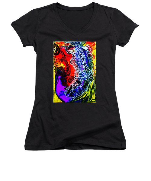 Women's V-Neck T-Shirt (Junior Cut) featuring the painting Dinka Bride by Gloria Ssali