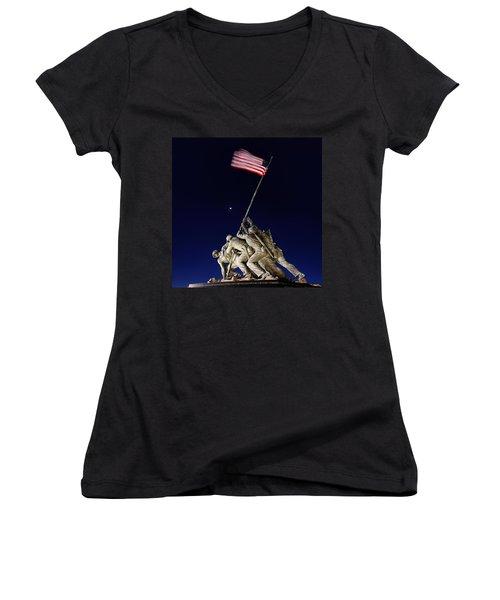 Iwo Jima Memorial At Dusk Women's V-Neck