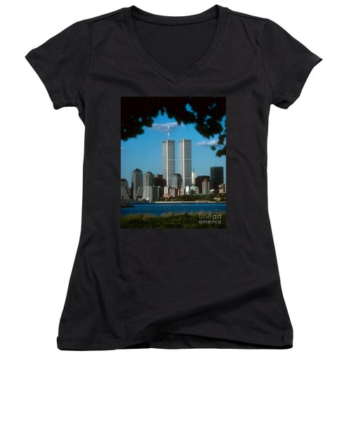 View From Liberty State Park Women's V-Neck T-Shirt (Junior Cut) by Mark Gilman