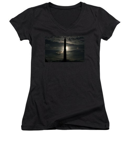 Women's V-Neck T-Shirt (Junior Cut) featuring the photograph Washington Monument by Stacy C Bottoms