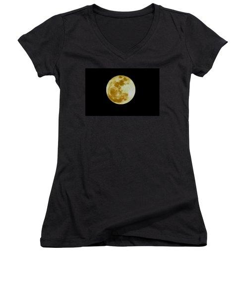 2011 Full Moon Women's V-Neck T-Shirt (Junior Cut) by Maria Urso
