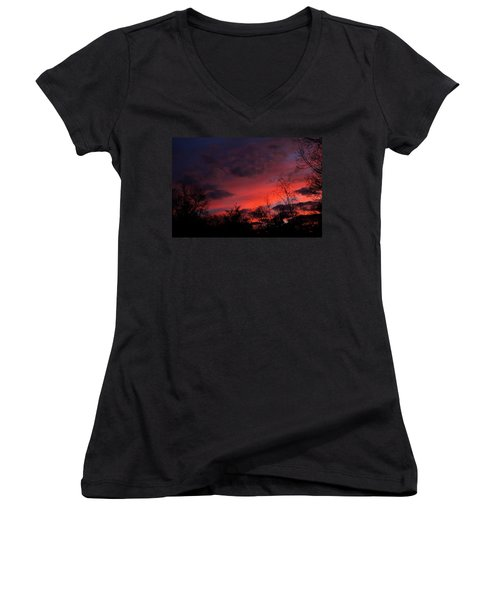 Women's V-Neck T-Shirt (Junior Cut) featuring the photograph 2012 Sunrise In My Back Yard by Paul SEQUENCE Ferguson             sequence dot net