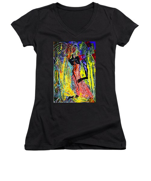 Women's V-Neck T-Shirt (Junior Cut) featuring the painting Jesus And Mary by Gloria Ssali