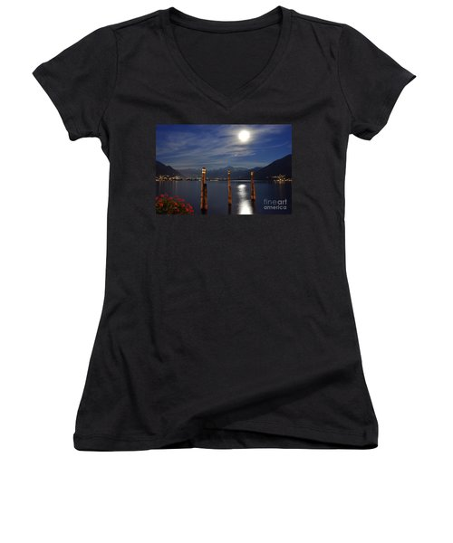 Moon Light Over An Alpine Lake Women's V-Neck