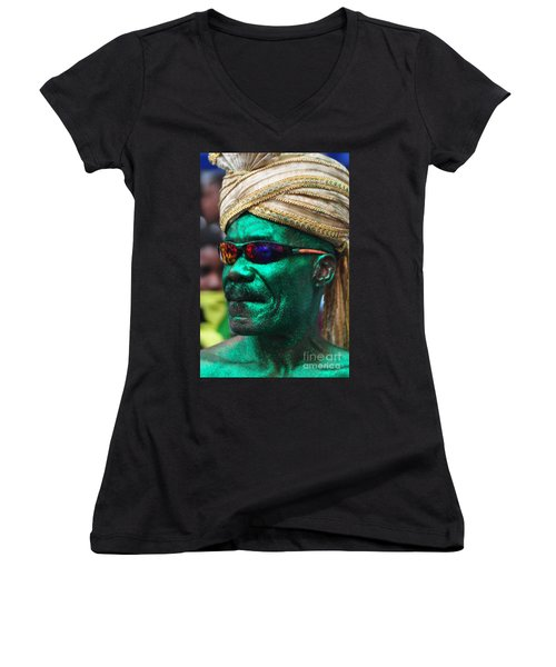 West Indian Day Parade Brooklyn Ny Women's V-Neck T-Shirt (Junior Cut) by Mark Gilman