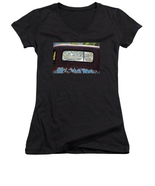 '48 Chevy Women's V-Neck T-Shirt (Junior Cut) by Paul Mashburn