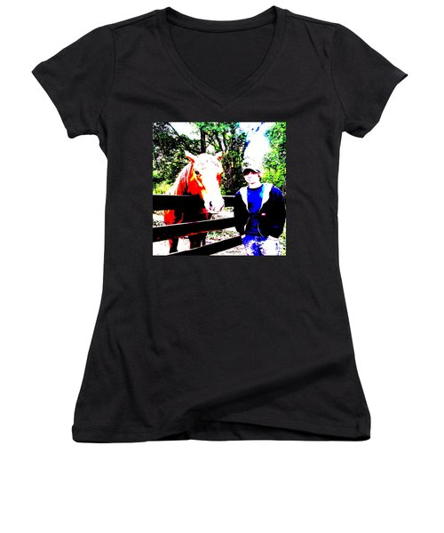 Women's V-Neck T-Shirt (Junior Cut) featuring the photograph a Boy and his Horse by George Pedro