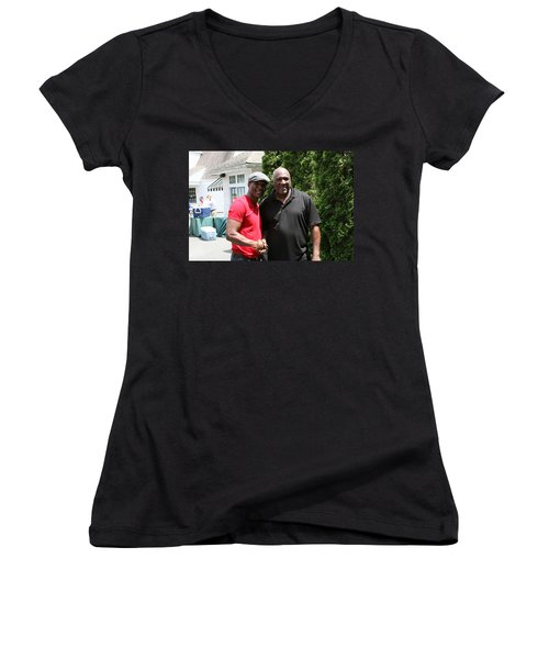 Women's V-Neck T-Shirt (Junior Cut) featuring the photograph A Friend Bernard Hopkins by Paul SEQUENCE Ferguson             sequence dot net