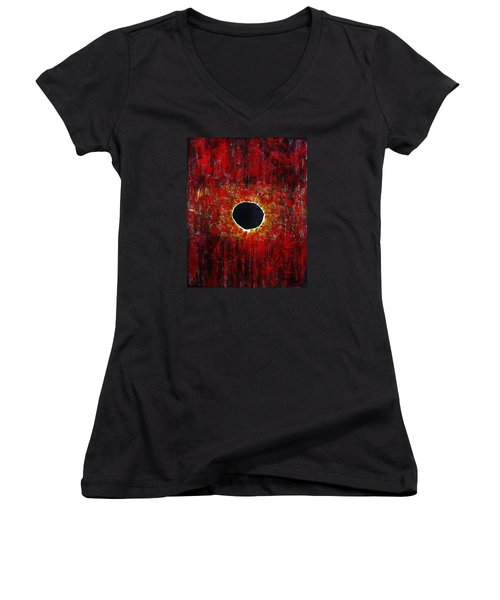 Women's V-Neck T-Shirt (Junior Cut) featuring the painting A Long Time Coming by Michael Cross