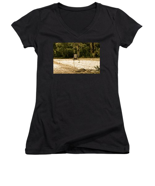 Women's V-Neck T-Shirt (Junior Cut) featuring the photograph A Time To Plant by Carol  Bradley